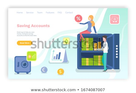 Saving Accounts Woman Sitting on Strongbox Website Stock photo © robuart