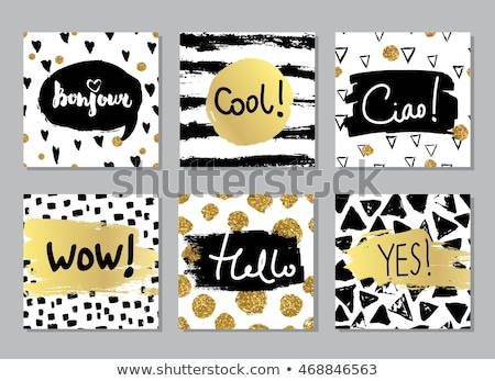 Wow black and white vector lettering Stock photo © barsrsind