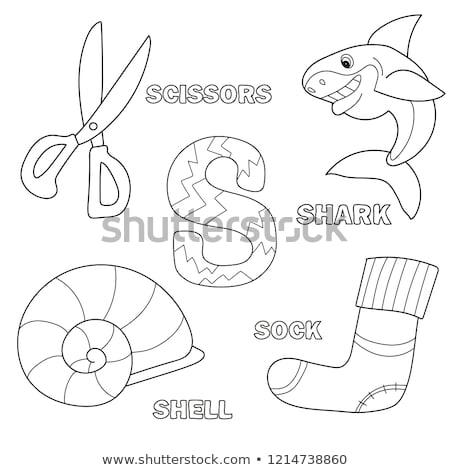 Alfabeto livro para colorir página carta tubarão Foto stock © natali_brill