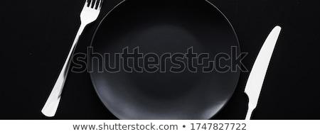 üres tányérok ezüst étkészlet fekete prémium teríték Stock fotó © Anneleven