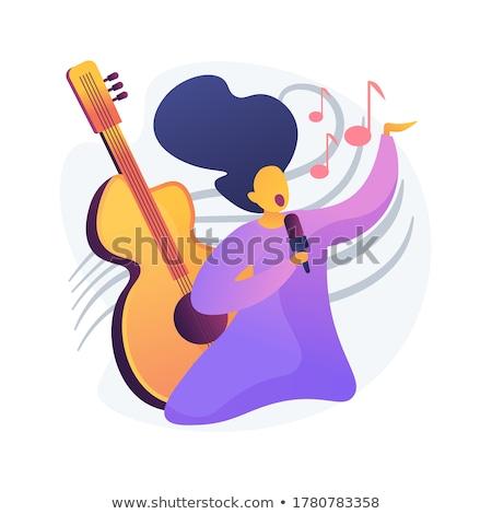 Beliebt Sänger Leistung Vektor Metapher akustischen Stock foto © RAStudio