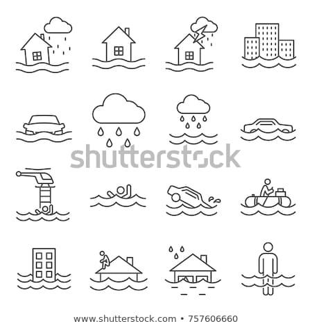 árvíz ikon ház élet őr áradás Stock fotó © sahua