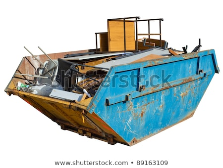 isolated rubbish skip full of old office furniture stock photo © latent