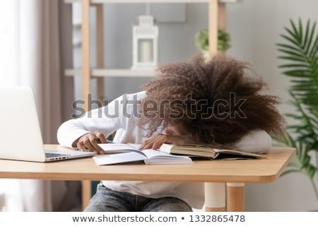 túlhajszolt · női · diák · asztal · nő · iroda - stock fotó © photography33