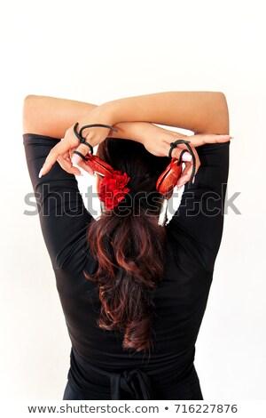 ジプシー フラメンコ ダンサー スペイン 少女 赤いバラ ストックフォト © lunamarina