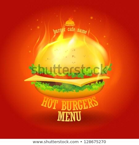 чизбургер пламени продовольствие огня фон хлеб Сток-фото © ozaiachin