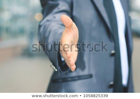 üzletember · tart · kéz · ki · kézfogás · üzlet - stock fotó © photography33