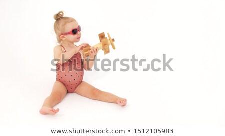 Meisje bruin badpak zonnebril vrouw Stockfoto © RuslanOmega