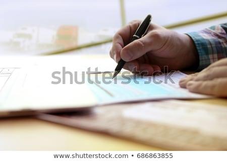 werk · man · pak · bureau · stuk · papier - stockfoto © jayfish