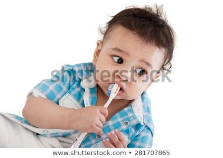 Stock foto: Indian Baby Brushing Teeth