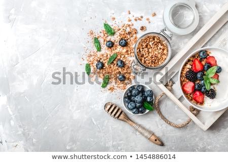 reggeli · asztal · friss · gyümölcsök · palacsinták · kávé - stock fotó © juniart