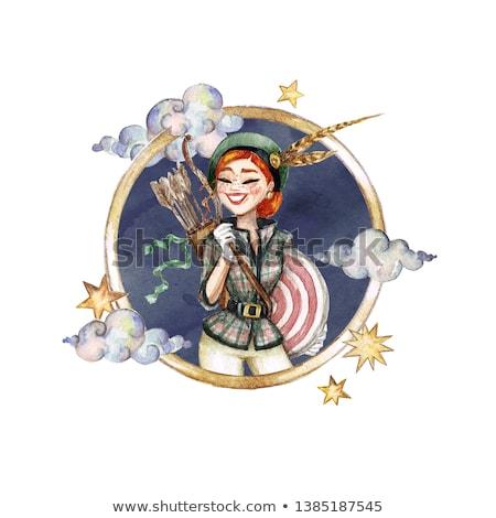 woman cartoon illustration sagittarius sign Stock photo © izakowski
