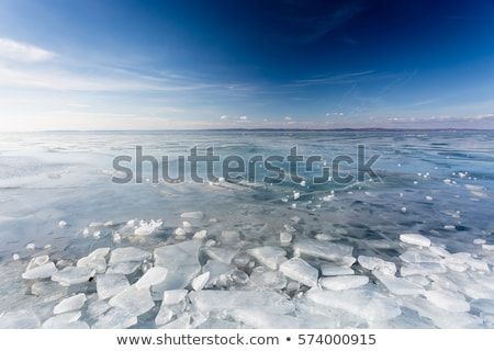 Congelés lac Balaton paysage hongrois hiver Photo stock © samsem