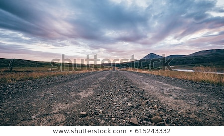 estrada · de · cascalho · verde · colina · árvore · grama - foto stock © witthaya