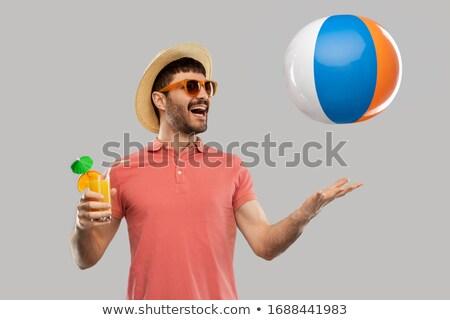 Férfi strandlabda kalap fehér szalag személy Stock fotó © photography33