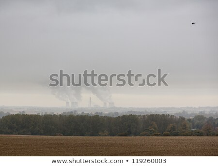 rook · mist · energiecentrale · winter · hemel · zonsondergang - stockfoto © backyardproductions