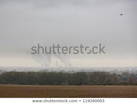 Didcot power station on foggy rainy day Stock photo © backyardproductions
