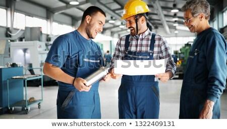 Artisan apprenti route bâtiment signe travailleur Photo stock © photography33