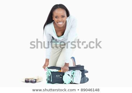 fiatal · nő · zárt · bőrönd · fehér · szépség · utazás - stock fotó © wavebreak_media
