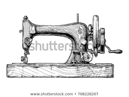 vintage · macchina · da · cucire · bianco · isolato · moda · lavoro - foto d'archivio © marimorena