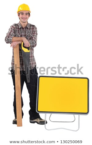 carpenter stood by blank road sign stock photo © photography33
