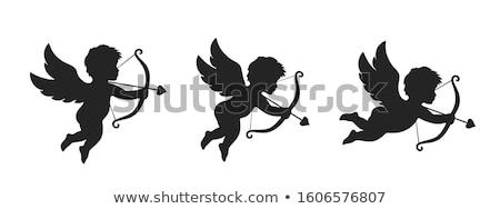 vektör · yalıtılmış · beyaz · sevmek · melek · siyah - stok fotoğraf © yupiramos