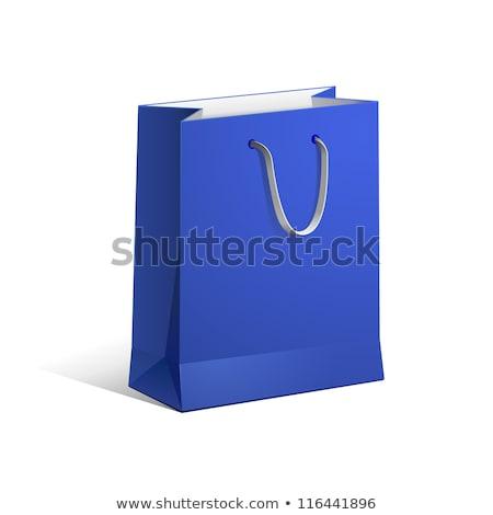 mavi · kâğıt · alışveriş · çanta · paketleme · hediyeler - stok fotoğraf © Farina6000