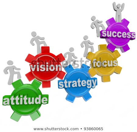 Stockfoto: A Team Of People Walking Upward On Connected Gears With The Word