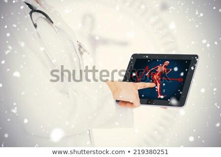 orvos · mutat · digitális · tabletta · boldog · érett - stock fotó © wavebreak_media