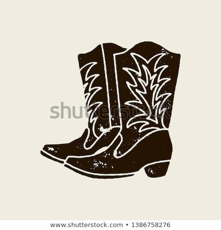 Vintage poszukiwany buty hat plakat tekstury Zdjęcia stock © vwalakte