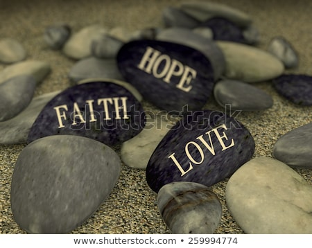 3D palabras fe esperanza amor paz Foto stock © dacasdo