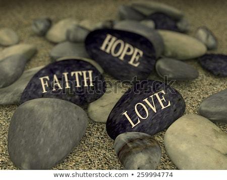 3D parole fede speranza amore pace Foto d'archivio © dacasdo