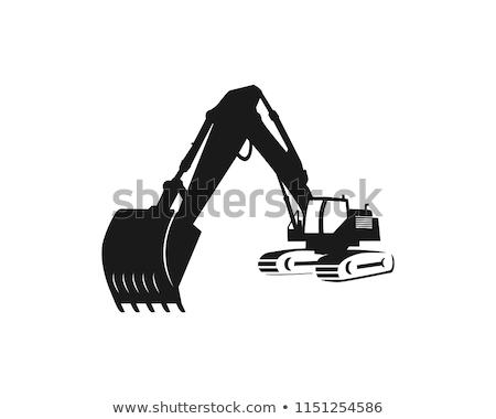 Koparka sylwetka stałego wiadro Zdjęcia stock © stoonn