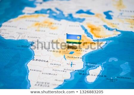 Африка карта Руанда флаг стране кнопки Сток-фото © Ustofre9