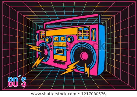 Vintage cassette recorder, ghetto blaster or boombox. vector   stock photo © odes