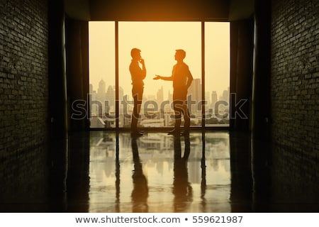Siluet görüşme kişi insanlar üç yalıtılmış Stok fotoğraf © artag