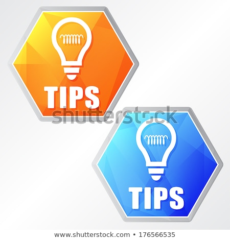 tips and bulb symbol two colors hexagons web icons stock photo © marinini