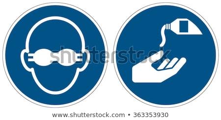 Verplicht teken oog bescherming glas bril Stockfoto © Ustofre9