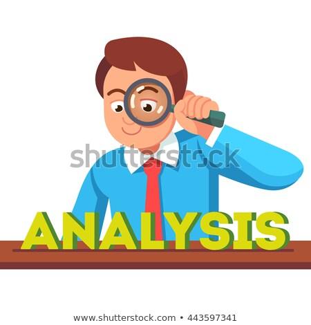 Analyze - Blue 3D Word Through a Magnifying Glass. Stock photo © tashatuvango