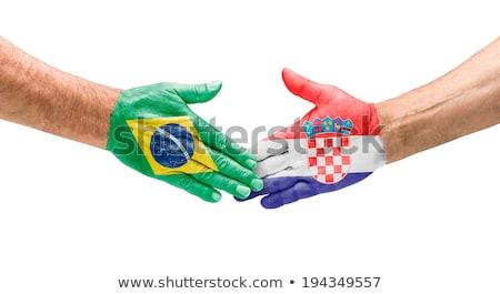 Aperto de mão Brasil Croácia mão reunião esportes Foto stock © Zerbor