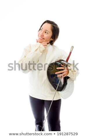 Stock photo: Female fencer thinking with her hand on chin