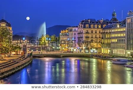 Genova szökőkút Svájc hdr híres tó Stock fotó © Elenarts