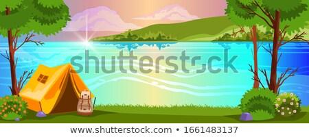 lago · tenda · caiaque · menina · sessão - foto stock © brittenham
