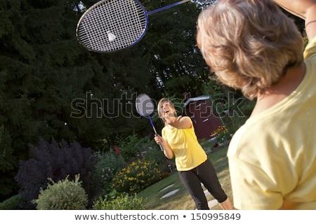 Iki eski badminton yalıtılmış beyaz el Stok fotoğraf © Cipariss
