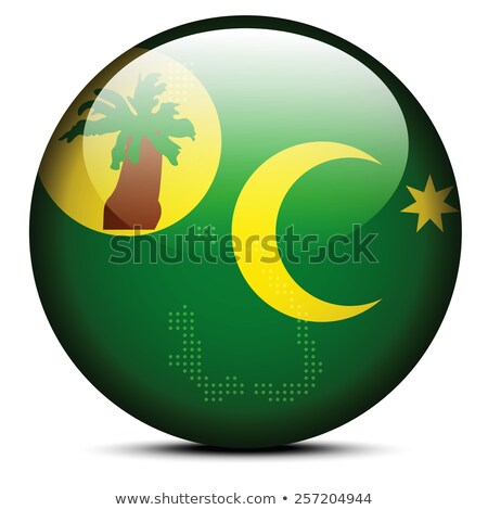 Map with Dot Pattern on flag button of Cocos (Keeling) Islands Stock photo © Istanbul2009