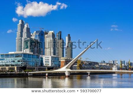 Buenos Aires kikötő sziluett hajók üzlet víz Stock fotó © fotoquique