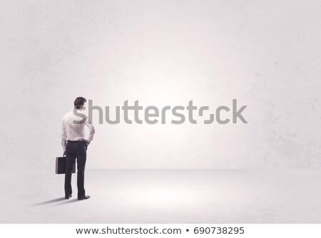 Hátsó nézet üzletember áll aktatáska fehér vállalati Stock fotó © wavebreak_media