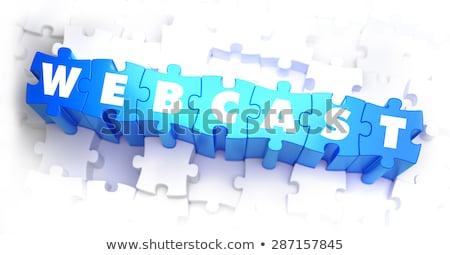 Webcast - White Word on Blue Puzzles. Stock photo © tashatuvango