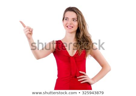 Blond vrouw jurk geïsoleerd witte gelukkig Stockfoto © Elnur