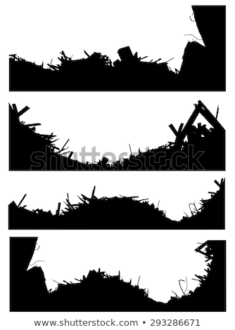 silhouette set of a demolition site industrial skyline  Stock photo © Melvin07